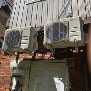 exterior split air conditioner mounted on wall